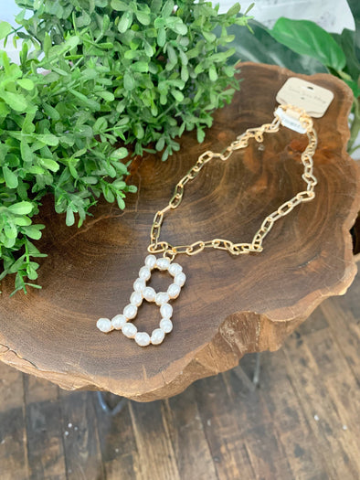 Pearl Initial Letter Necklace- B