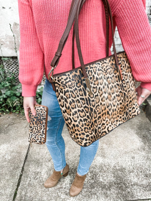 Steeples Leopard Tote- Brown