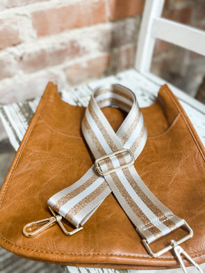 Bag Strap- Camel/Gold/White Stripe