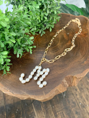Pearl Initial Letter Necklace- M