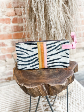 Lyla Leather Wristlet- Pink/Zebra