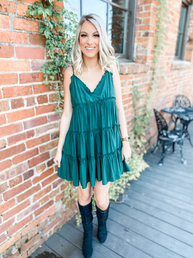 Braylee Spaghetti Strap Ruffle Tiered Dress- Hunter Green