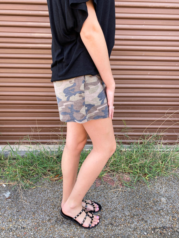 Lilah Camouflage Shorts- Taupe