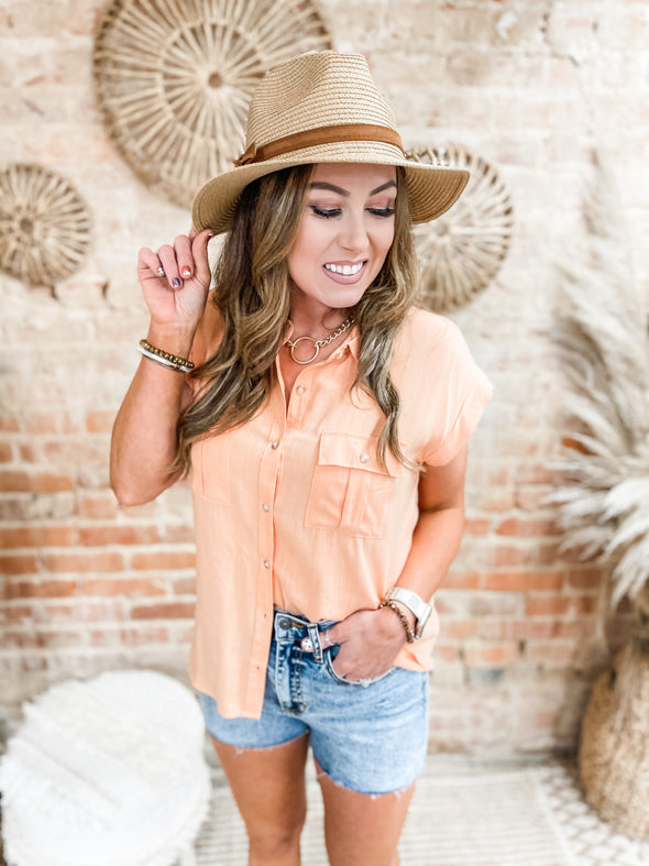 Crystal Button Down Shirt- Apricot