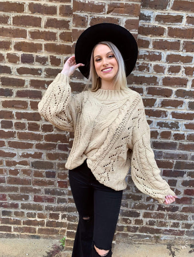 Aya Sweater- Taupe - Texas Bling