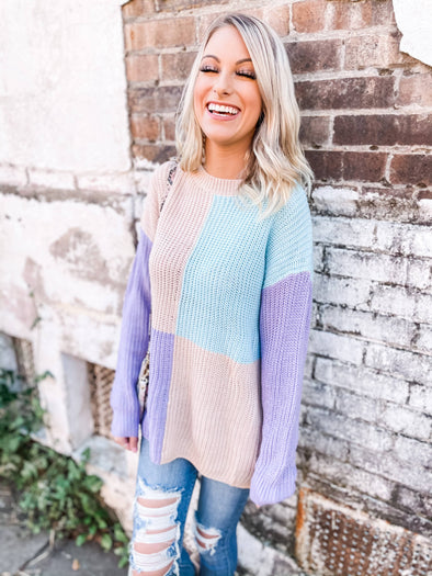 Holland Color Blocking Sweater- Vintage Lavender