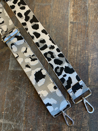 Bag Strap- Silver Ground Leopard Adjustable Strap - Texas Bling