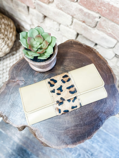 Bria Leather Wallet- Yellow/Leopard