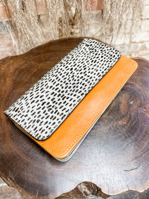 Nova Leather Wallet- Orange/Deer