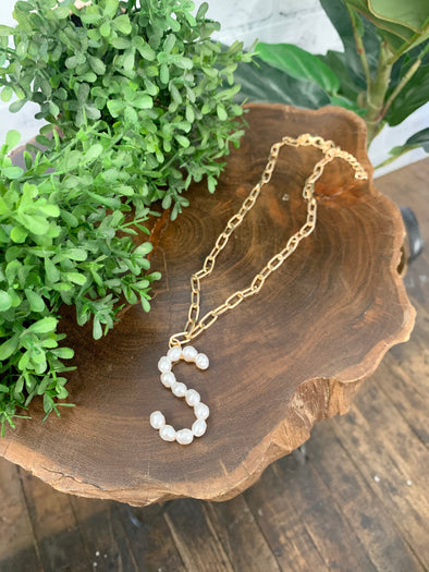 Pearl Initial Letter Necklace- S