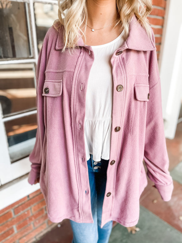 Avery Button Down Pocket Detail Jacket- Mauve