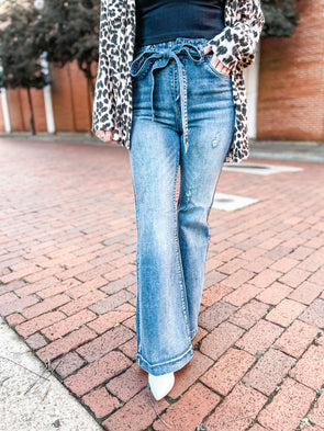 Tina Bow Tie Washed Bell Bottom Jeans