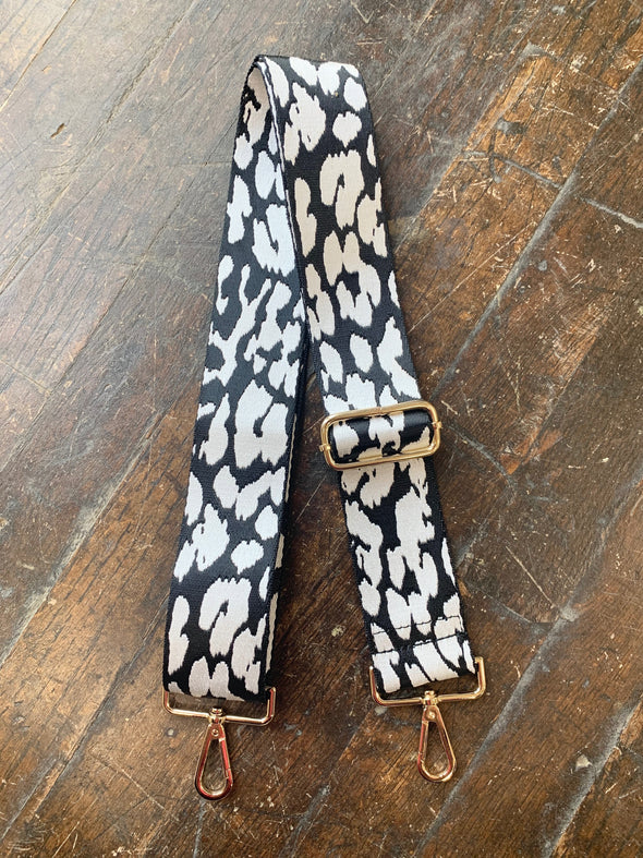 Bag Strap- Black/White Leopard - Texas Bling