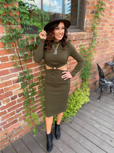 Genesis Cutout Keyhole Skirt Dress- Olive