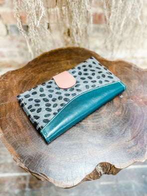 Mari Leather Wallet- Green/Spotted