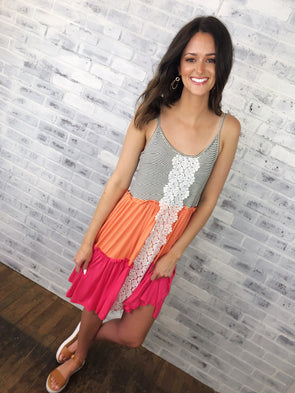 Color Block Crochet Detail Dress- Coral