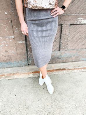 Abby Soft Ribbed Knit Skirt- Charcoal