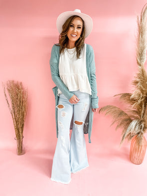 Amelia Solid Knit Duster Cardigan- Mint