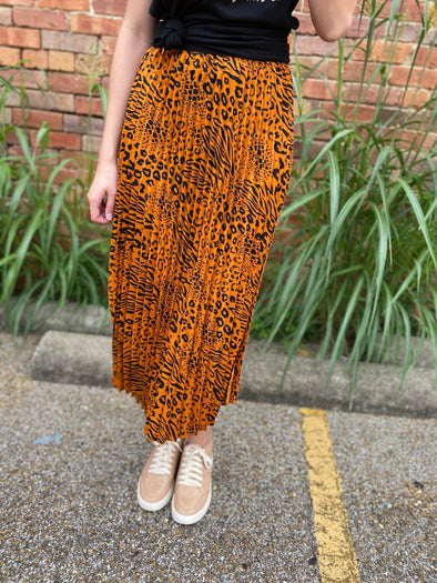 Annie Animal Print Pleated Midi Skirt- Ochre