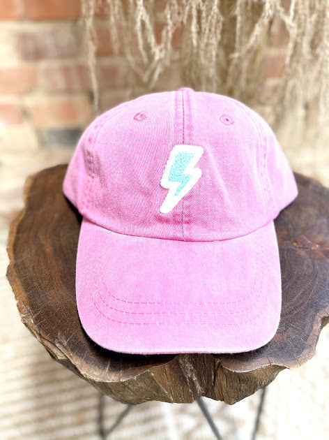 Lightening Bolt Patch Hat- Coral