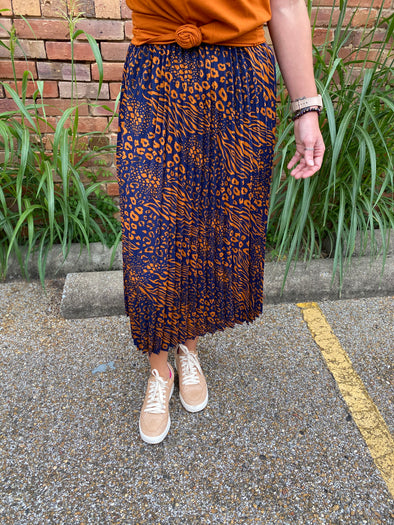 Annie Animal Print Pleated Midi Skirt- Navy