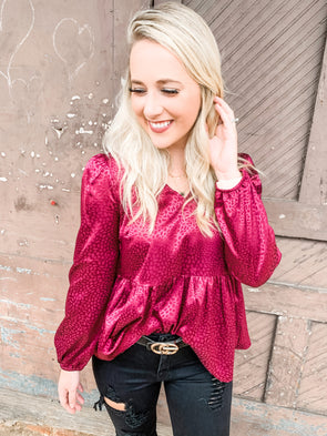 Maeve Tone on Tone Leopard Satin L/S Top- Magenta