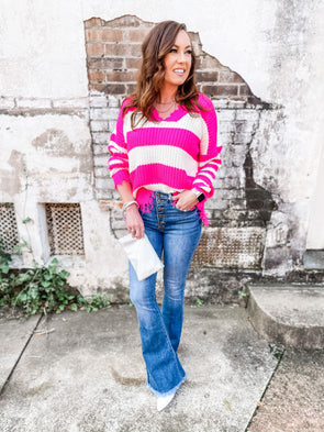 Shelley Striped Frayed Sweater