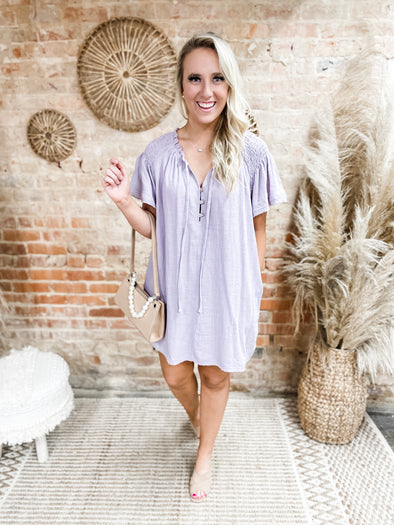 Iris Smock Detail Mini Dress- Lavender