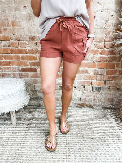 Zara Self Tie Shorts- Brick