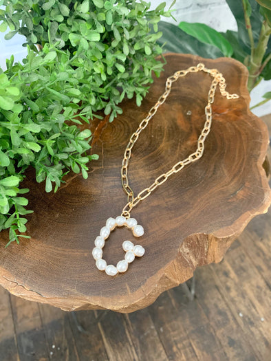 Pearl Initial Letter Necklace- G