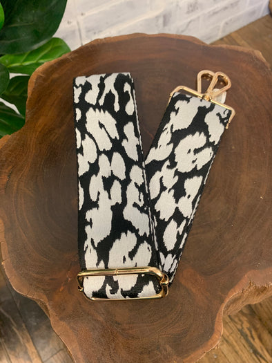 Bag Strap- Black/White Leopard