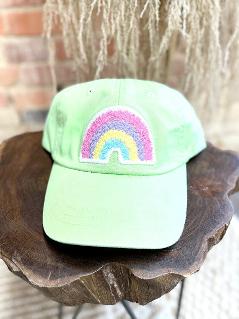 Rainbow Patch Hat- Neon Green