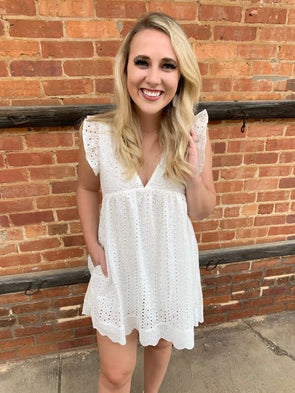 Sydney Eyelet Dress/Romper- White