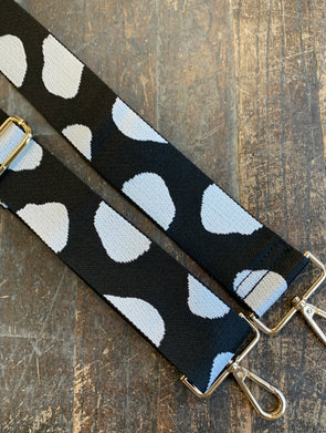 Bag Strap- Black/White/Morphis Circles Adjustable Strap