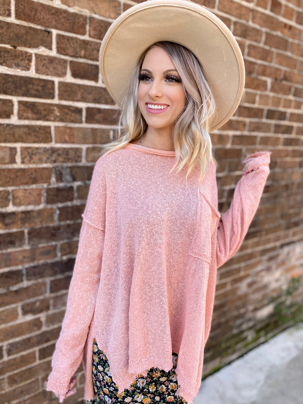 Morgan Knit L/S Top- Faded Coral