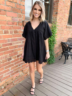 Iris Dress/Romper- Black - Texas Bling