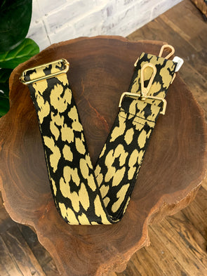 Bag Strap- Black/Khaki Animal Print