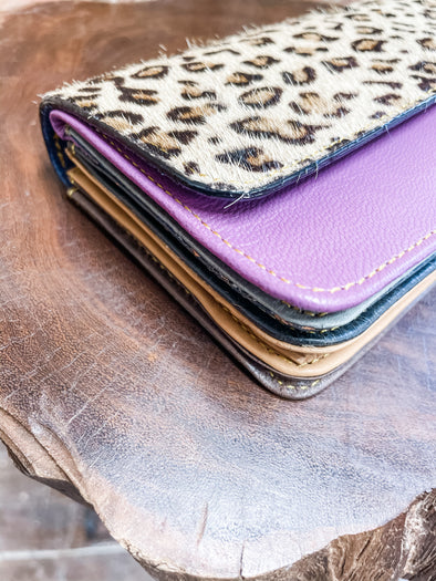 Nova Leather Wallet- Purple/Spotted Cheetah