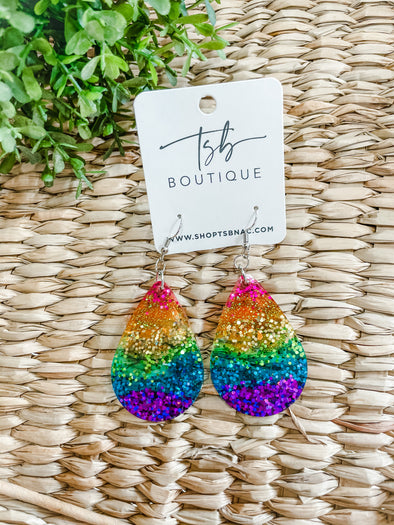 Rainbow Large Teardrop Earrings