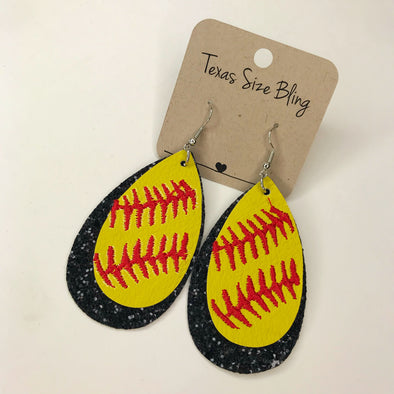 Black Glitter Softball Earrings