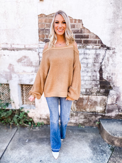 Genesis Waffle Textured Off Shoulder Pullover Sweater- Mustard