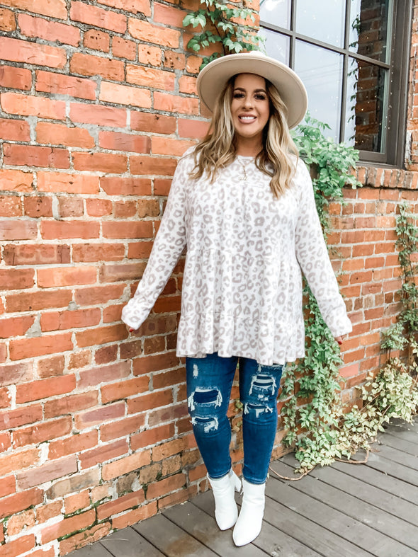 Blair L/S Leopard Tiered Top- Taupe