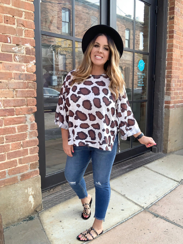 Hilda Animal Print Top- Off White