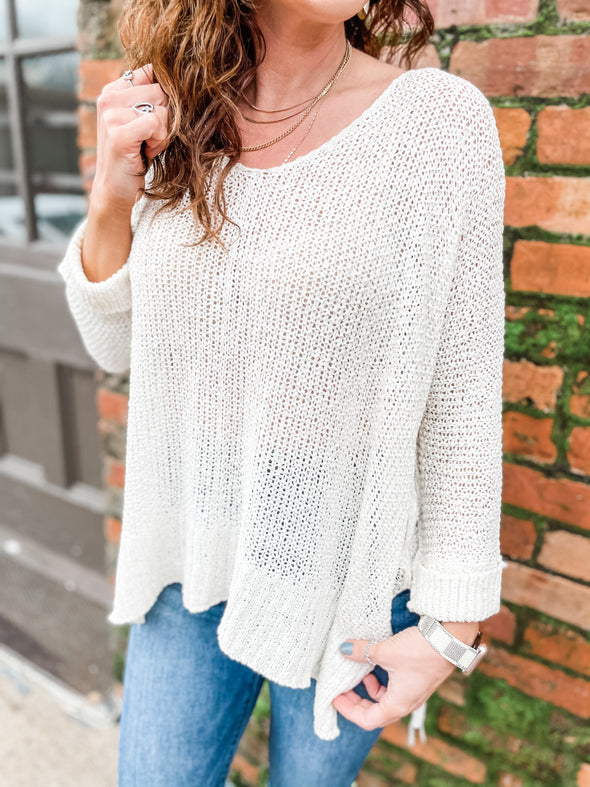 Freya 3/4 Sleeve Fine Ribbon Sweater- Cream