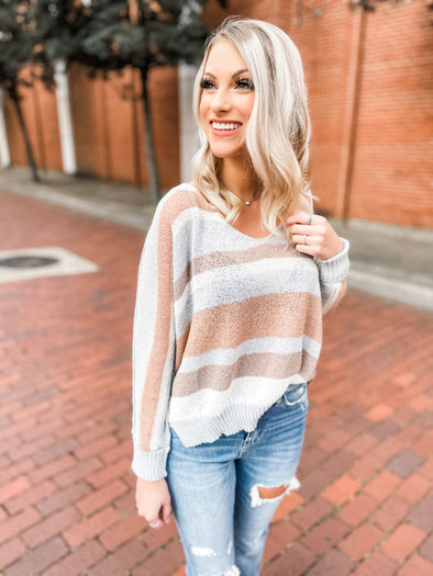 Faye Multi Color Side Slit Sweater- Cloud/Peach