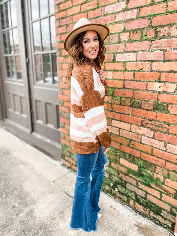 Chelsea Color Stripe Chunky Knit Sweater