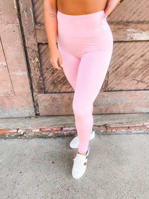 Averie Solid High Waisted Leggings- Pink