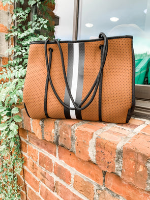 The Neoprene Tote Bag- Camel Stripe