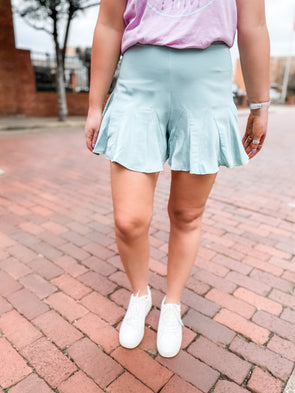 Lisa Ruffle Swing Shorts- Seafoam