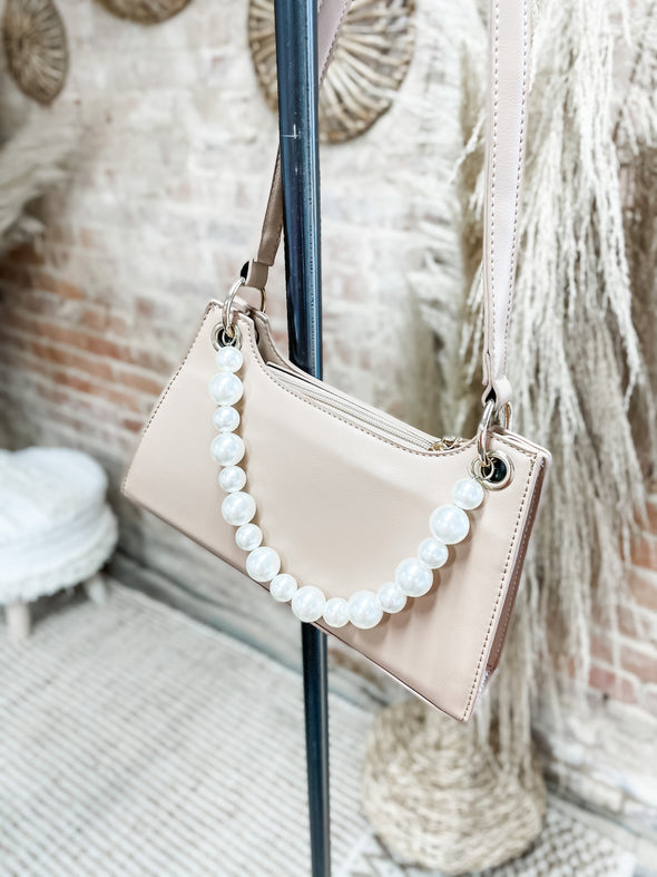 Meredith Pearl Strap Shoulder Bag Design- Ivory